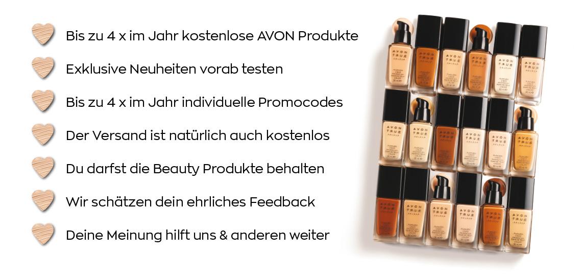 Vortele AVON Influencer Club: Kostenlose Produkte, Kostenloser Versand, Promocode